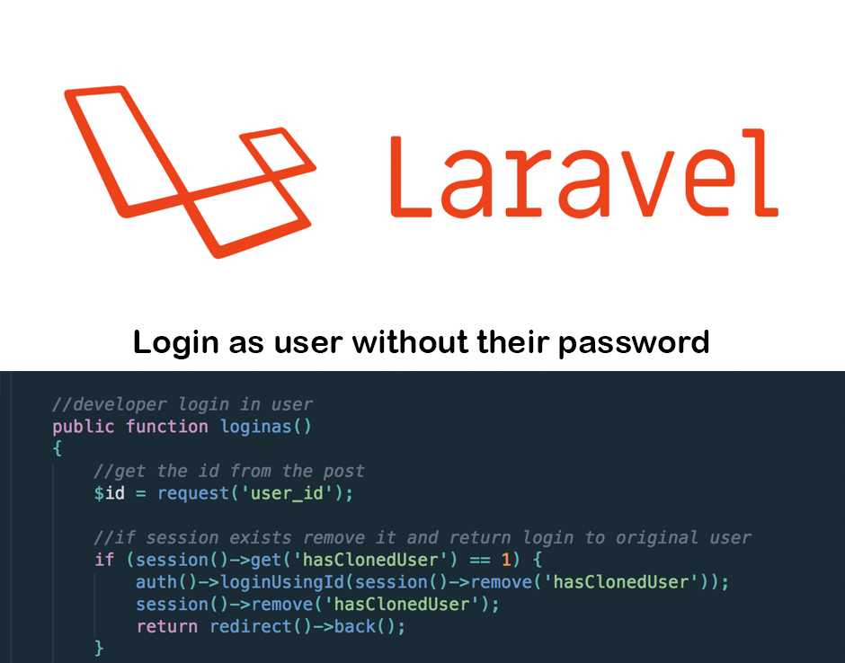 Laravel login as user without their password