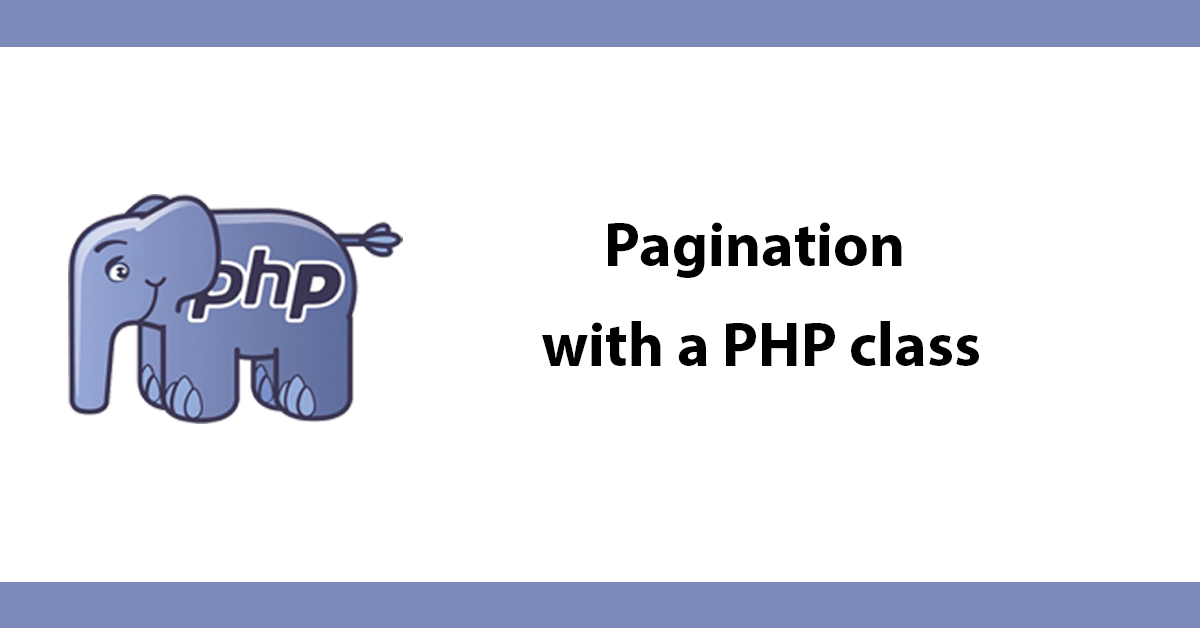 Pagination with a PHP class